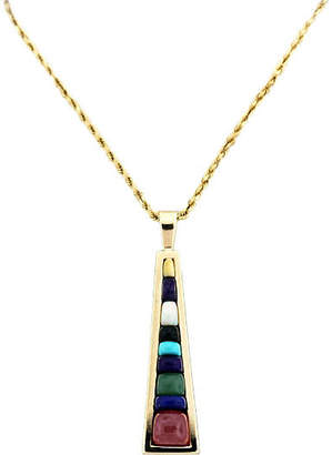 One Kings Lane Vintage Gemstone Wedge Pendant with Rope Chain