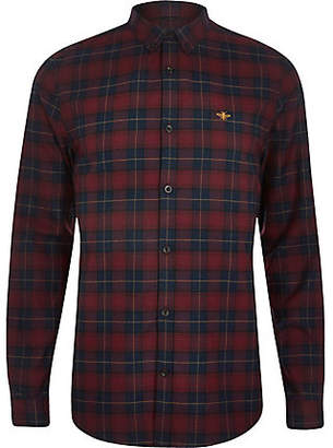 River Island Dark red check embroidered long sleeve shirt