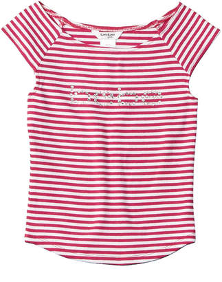 Bebe Girls' Striped Logo Top
