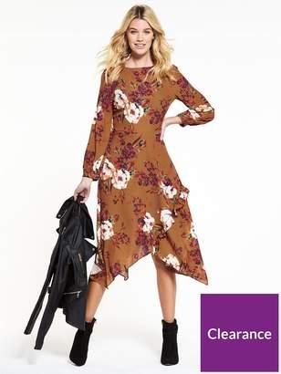 Very Rust Printed Hanky Hem Dress
