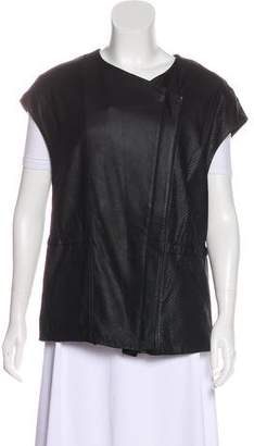 Vince Leather Zip-Up Vest