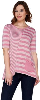 Logo By Lori Goldstein LOGO by Lori Goldstein Mixed Striped Sweater Knit Top w/ Chiffon