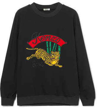 Kenzo Appliquéd Striped Crepe Sweatshirt - Black