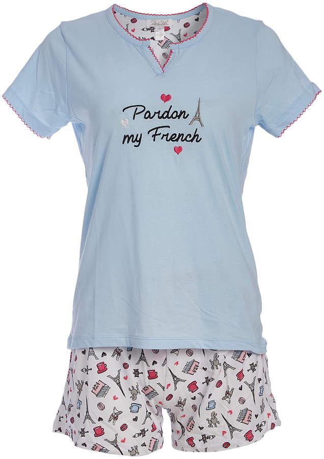 Blue & White 'Pardon My French' Notch Neck Pajama Set - Women