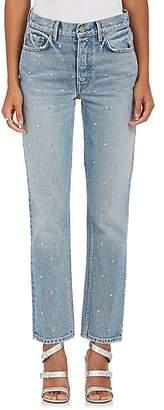 GRLFRND Women's Helena Embellished Straight Crop Jeans - Lt. Blue