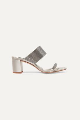 Pedro Garcia Xina Crystal-embellished Satin Sandals - Silver