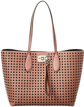 Salvatore Ferragamo Studio Laser-Cut Leather Tote