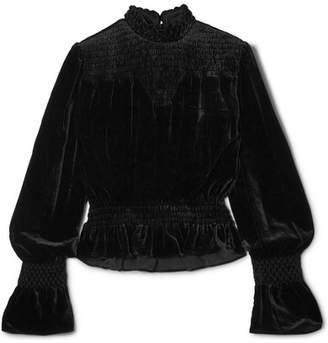 Frame Smocked Velvet Top - Black