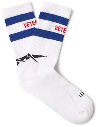 Vetements Reebok Logo-Intarsia Stretch Cotton-Blend Socks - Men - White