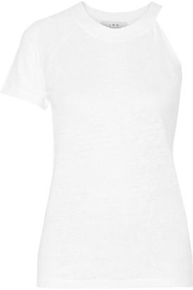IRO - Jain Asymmetric Slub Linen Jersey T-shirt - White $140 thestylecure.com
