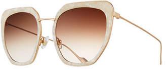 SUNDAY SOMEWHERE Silvia Marbled Acetate & Metal Square Sunglasses