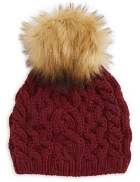 584762e2c5b ... Etereo Faux Fur Pom-Pom Cable-Knit Beanie