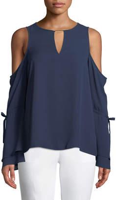 MICHAEL Michael Kors Cold-Shoulder Long-Sleeve Blouse