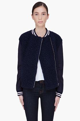 SURFACE TO AIR Navy Wool Varsity Jacket