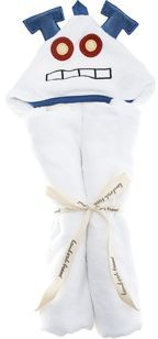 Bambooh Brand Robot Hooded Towel - White/Blue