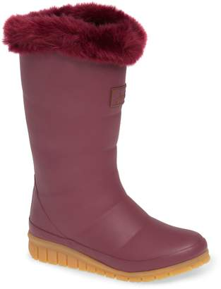 Joules Padded Welly Waterproof Rain Boot with Faux Fur Trim