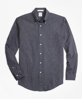 Brooks Brothers Milano Fit Indigo Chambray Micro-Check Sport Shirt