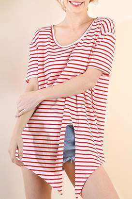 Umgee USA Striped Tie-Front Top