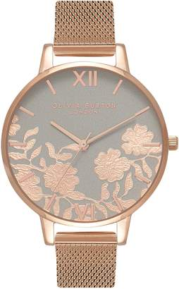 Olivia Burton Lace Detail Mesh Strap Watch, 38mm