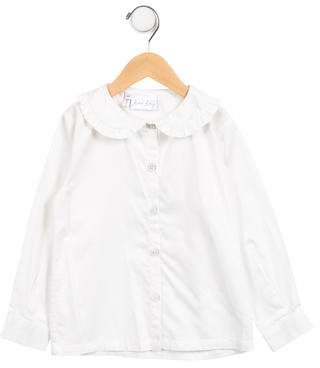 Rachel Riley Girls' Ruffle-Trimmed Button-Up Top