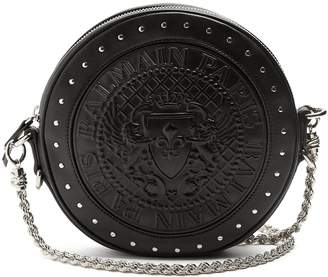 Balmain Stud-embellished leather cross-body bag