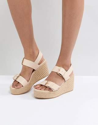 London Rebel Buckle Wedge Sandal