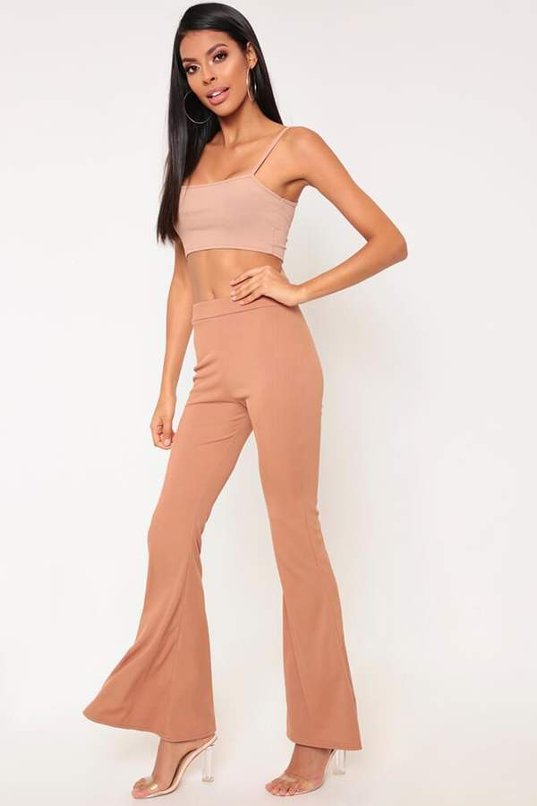 Isawitfirst Camel Ribbed Flare Trousers