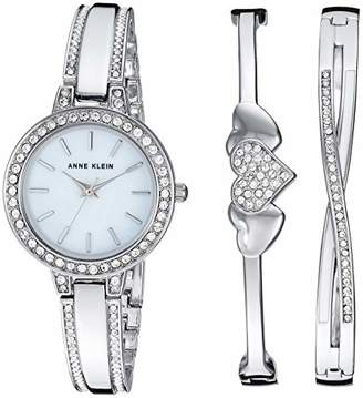 Anne Klein Women's AK/3355SVST Swarovski Crystal Accented -Tone Watch and Bangle Set