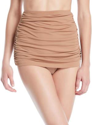 Norma Kamali Bill Shirred High-Waist Skirted Bikini Swim Bottoms