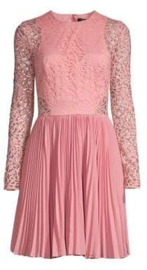 Aidan Mattox Lace Pleated Skirt A-Line Cocktail Dress