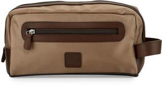 Neiman Marcus Leather-Trim Nylon Toiletry Bag, Tan