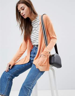 Asos DESIGN cardigan in fine knit with rib detail