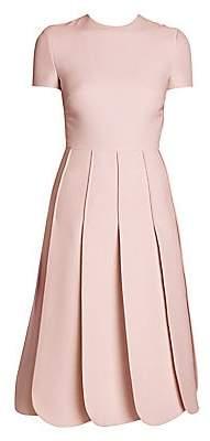 Valentino Women's Short Sleeve Knee-Length Scalloped Hem Dress
