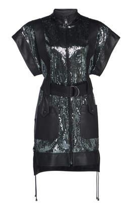 Dundas Sequin Embellished Leather Mini Dress With Belt
