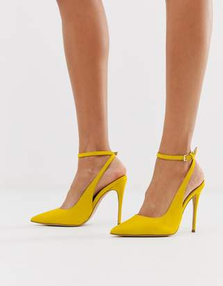 Aldo pointed heeled stilettos in yellow leather