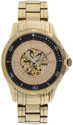 Elgin Mens Gold-Tone Skeleton Watch