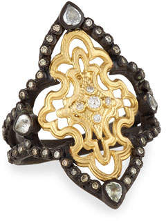 Armenta Old World Open Scroll Ring with Diamonds