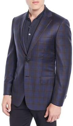 Brioni Men's Two-Tone Plaid Two-Button Jacket, Blue