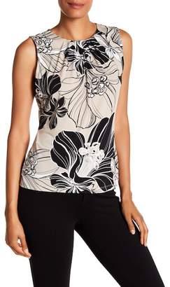 Modern American Designer Pleated Neck Floral Blouse