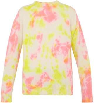 The Elder Statesman Tie Dyed Crew Neck Cashmere Sweater - Mens - Yellow Multi