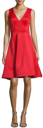 Jovani Sleeveless V-Neck Fit & Flare Midi Dress, Tomato $395 thestylecure.com