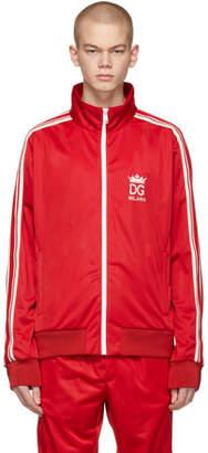 Dolce & Gabbana Red Crown Zip-Up Jacket