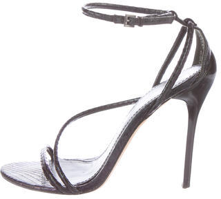 B Brian Atwood Snakeskin Ankle Strap Sandals $125 thestylecure.com