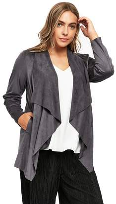 Evans Grey Suedette Jacket