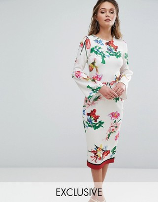True Violet Midi Floral Dress With Structured Fluted Sleeve In Floral With Stripe At Hem $98 thestylecure.com