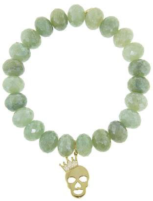 Sydney Evan Crown Skull Charm On Green Silverite Beaded Bracelet