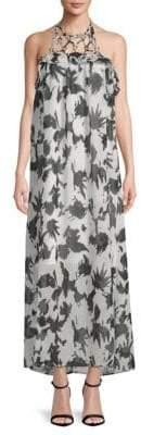Moon River Halter Printed Maxi Dress