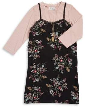 Rare Editions Girl's Two-Piece Long-Sleeve Top and Floral Dress Set