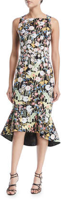Peter Pilotto Sleeveless Square-Neck Dandelion-Print Cady Dress