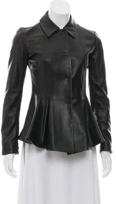 Marni Leather Flared Jacket Black Leather Flared Jacket